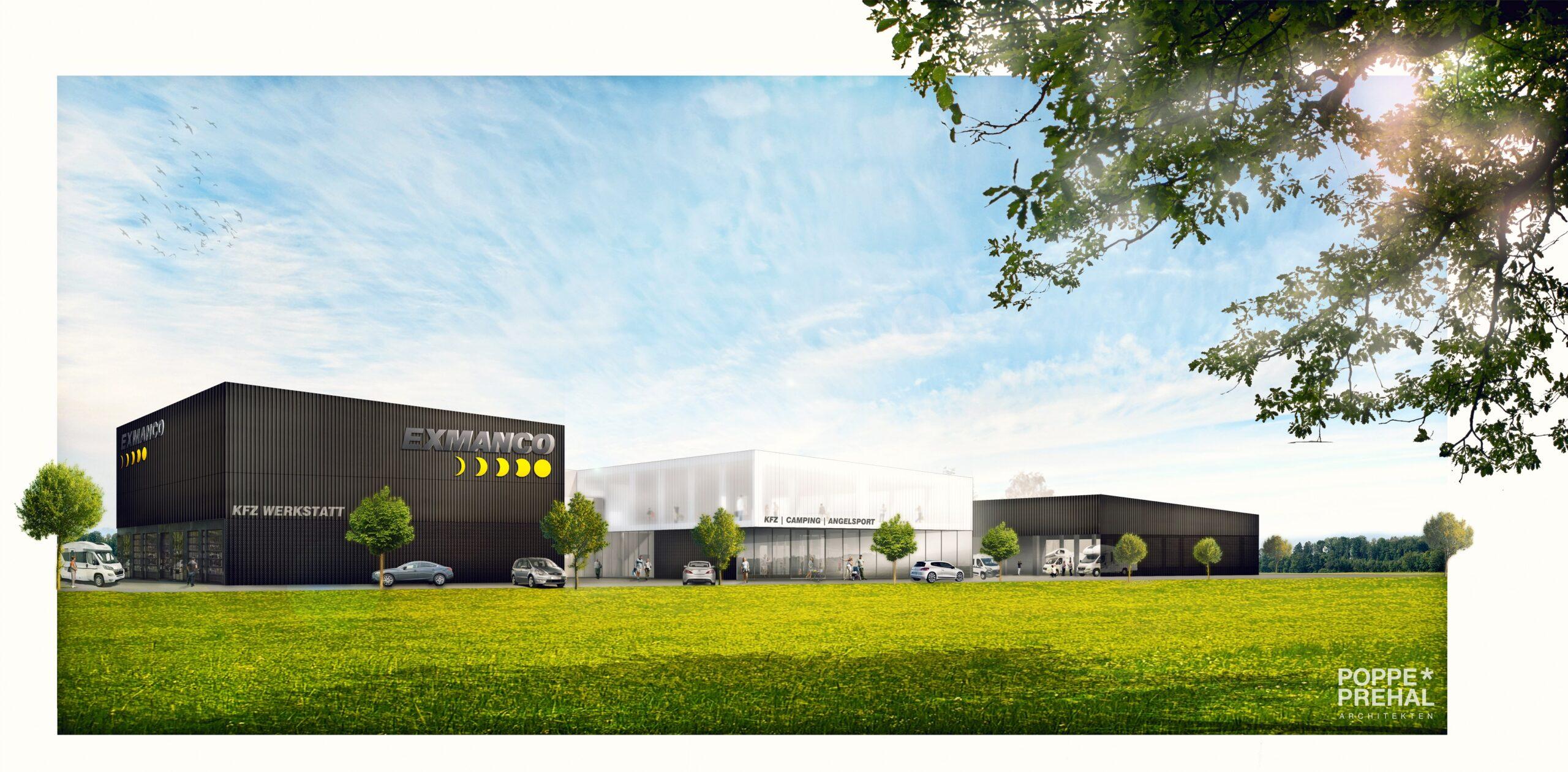 3D Schaubild des geplanten Neubaus von EXMANCO Steyr, geplant von POPPE*PREHAL ARCHITEKTEN